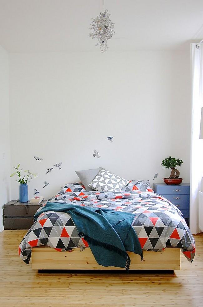 Спальня в  цветах:   Бежевый, Светло-серый.  Спальня в  стиле:   Скандинавский.