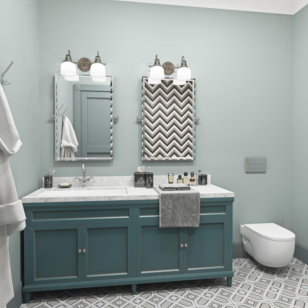 Ванная в  цветах:   Светло-серый, Серый, Синий.  Ванная в  стиле:   Минимализм.