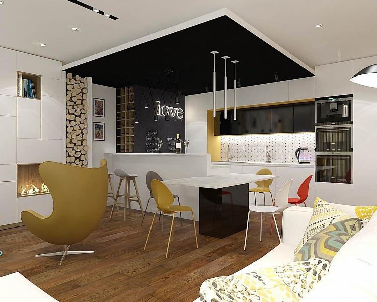 Кухня/столовая в  цветах:   Бежевый, Белый, Коричневый, Светло-серый, Черный.  Кухня/столовая в  стиле:   Минимализм.