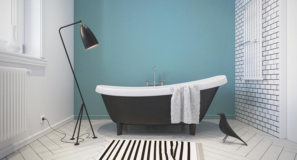 Ванная в  цветах:   Бирюзовый, Голубой, Светло-серый, Серый, Черный.  Ванная в  стиле:   Минимализм.