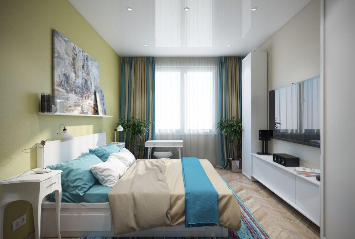 Спальня в  цветах:   Бежевый, Белый, Светло-серый, Серый, Синий.  Спальня в  стиле:   Минимализм.