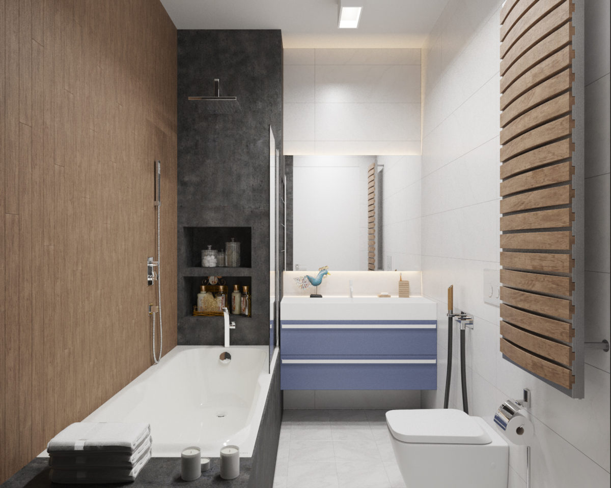 Ванная в  цветах:   Бежевый, Коричневый, Светло-серый, Серый, Черный.  Ванная в  стиле:   Минимализм.