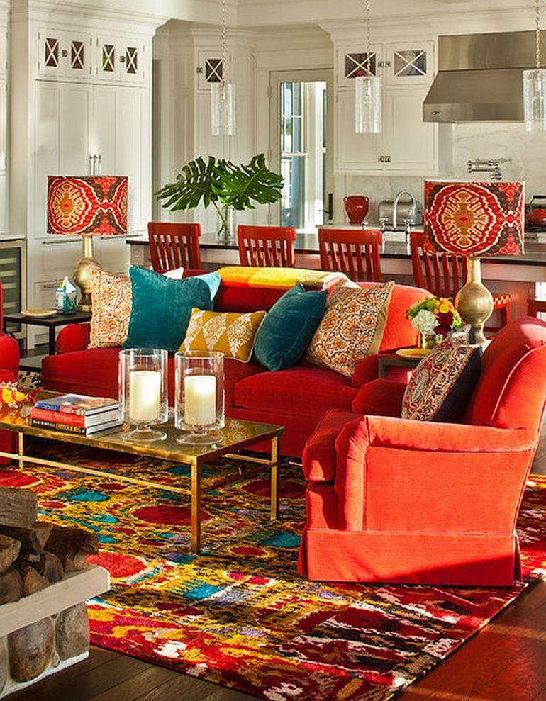 Гостиная в  цветах:   Бежевый, Бордовый, Оранжевый, Светло-серый, Темно-коричневый.  Гостиная в  стиле:   Эклектика.
