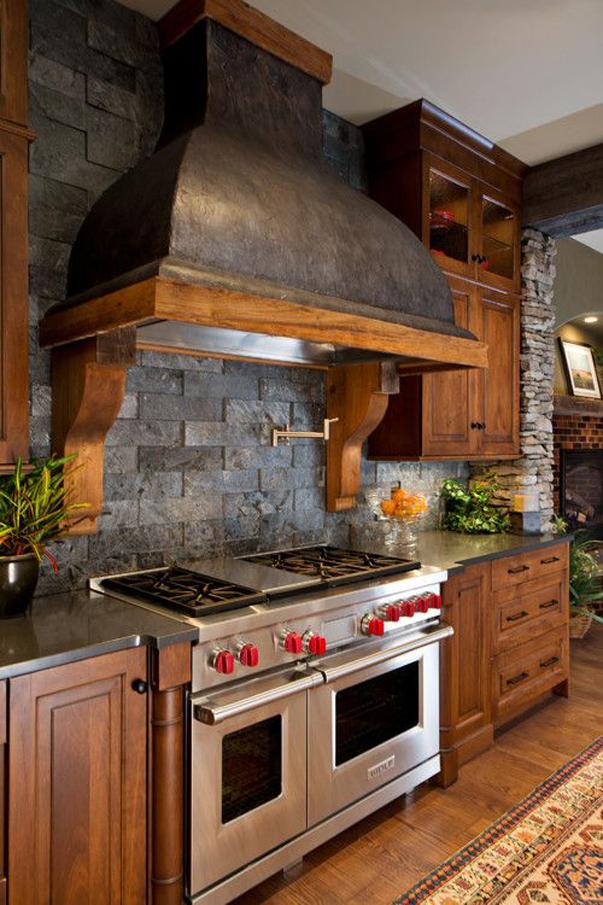 Кухня/столовая в  цветах:   Бежевый, Коричневый, Серый, Темно-коричневый, Черный.  Кухня/столовая в  стиле:   Кантри.