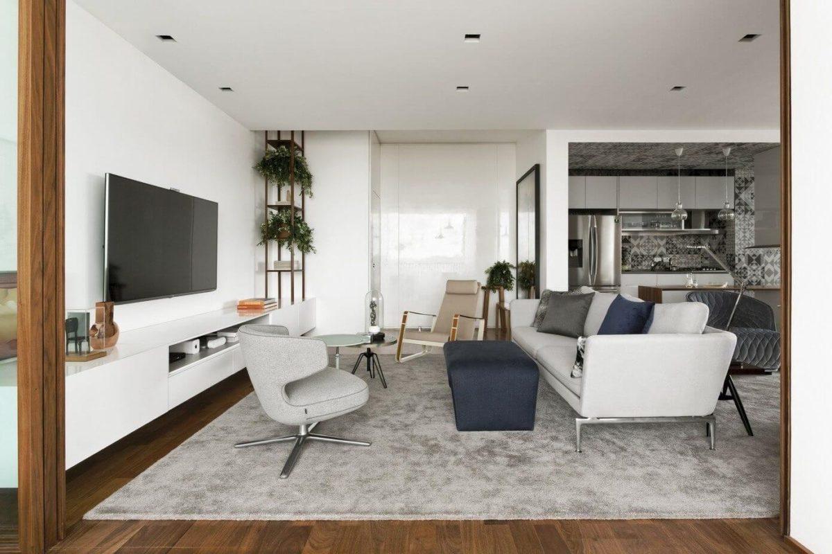Отличный пример того, как с помощью серого цвета можно сделать яркую квартиру