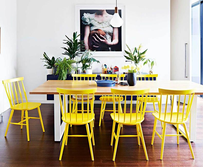 Кухня/столовая в  цветах:   Белый, Лимонный, Светло-серый, Темно-коричневый, Черный.  Кухня/столовая в  стиле:   Скандинавский.