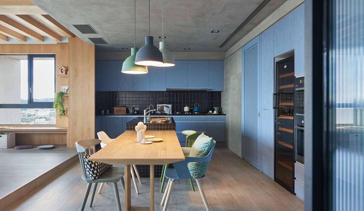 Кухня/столовая в  цветах:   Бежевый, Бирюзовый, Светло-серый, Серый, Черный.  Кухня/столовая в  стиле:   Минимализм.