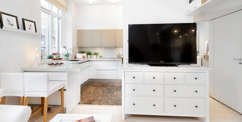 Кухня/столовая в  цветах:   Бежевый, Белый, Светло-серый, Черный.  Кухня/столовая в  стиле:   Скандинавский.