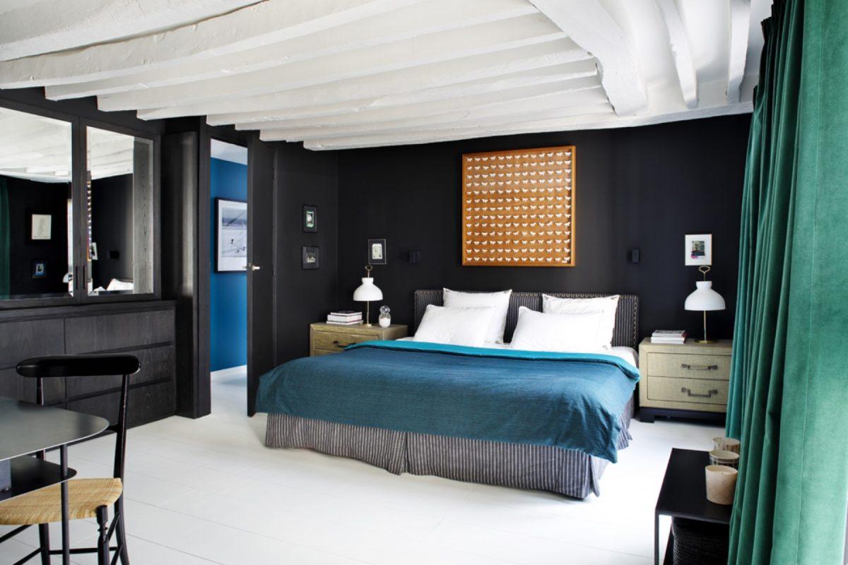 Спальня в  цветах:   Белый, Светло-серый, Серый, Синий, Черный.  Спальня в  стиле:   Скандинавский.