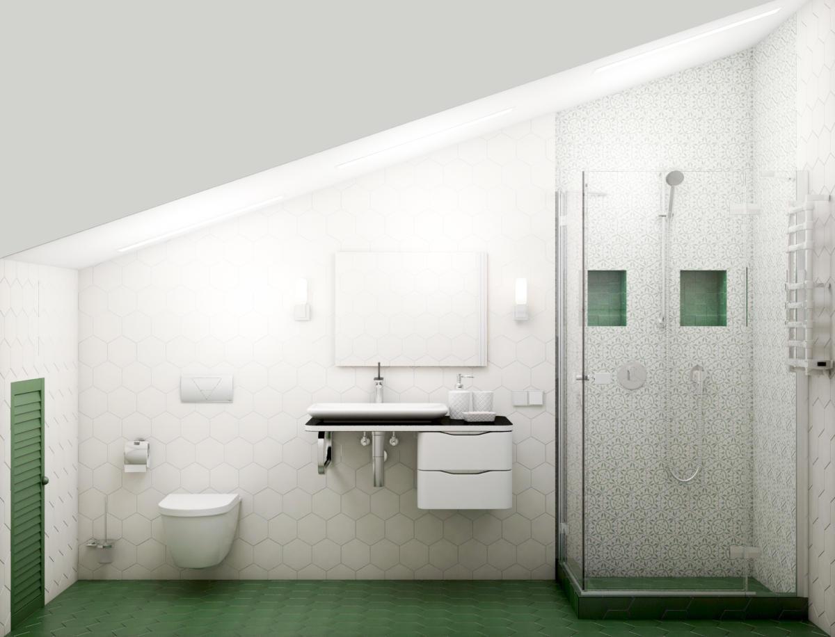Ванная в  цветах:   Бежевый, Белый, Светло-серый, Серый, Темно-зеленый.  Ванная в  стиле:   Минимализм.