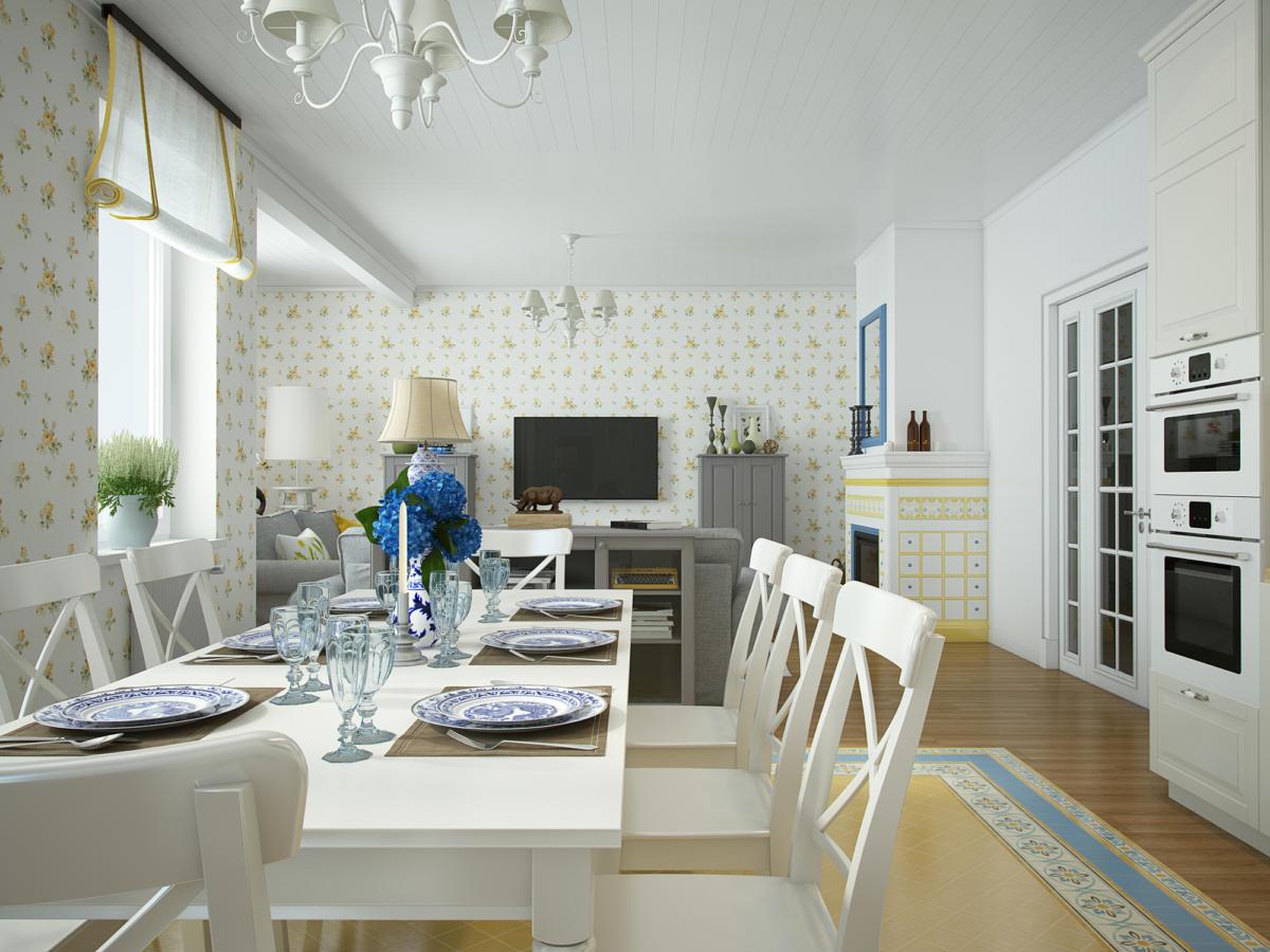 Кухня/столовая в  цветах:   Бежевый, Светло-серый, Серый.  Кухня/столовая в  стиле:   Прованс.
