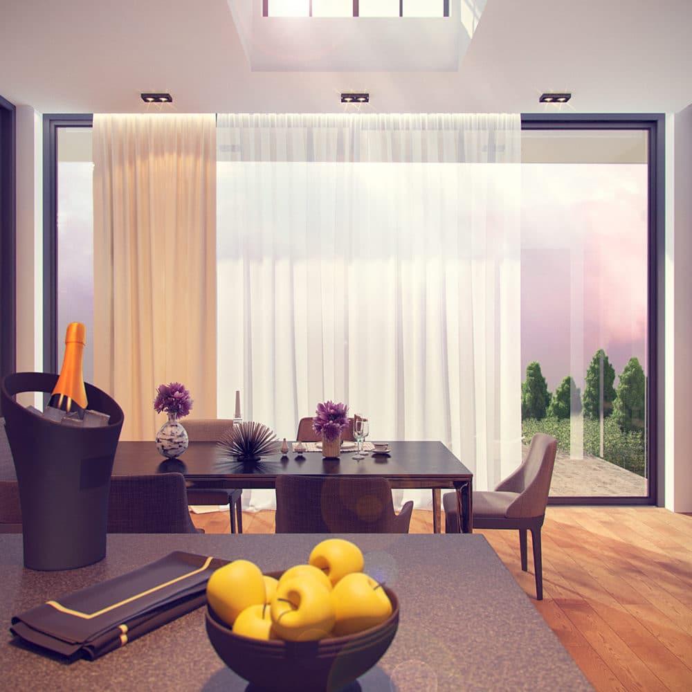 Гостиная в  цветах:   Бежевый, Белый, Светло-серый, Серый, Фиолетовый.  Гостиная в  стиле:   Минимализм.