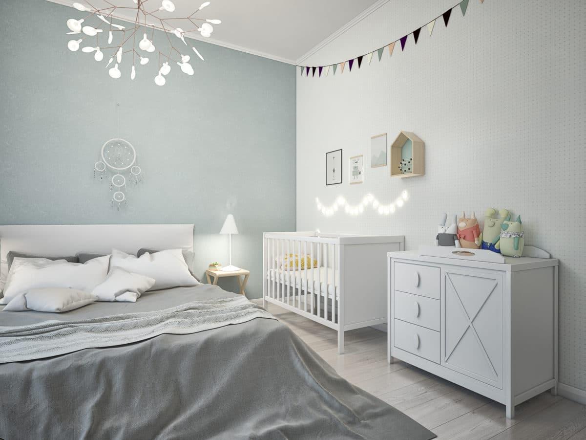 Спальня в  цветах:   Светло-серый, Серый.  Спальня в  стиле:   Скандинавский.