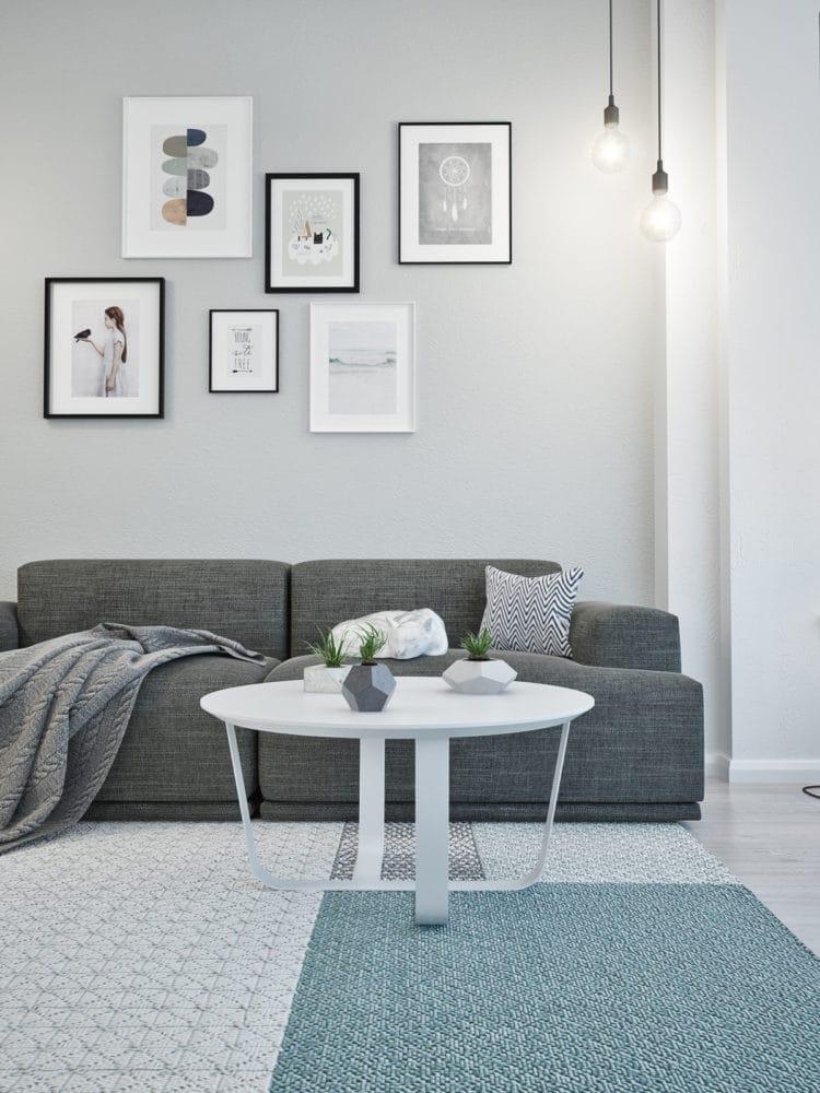 Спальня в  цветах:   Светло-серый, Серый, Синий.  Спальня в  стиле:   Скандинавский.