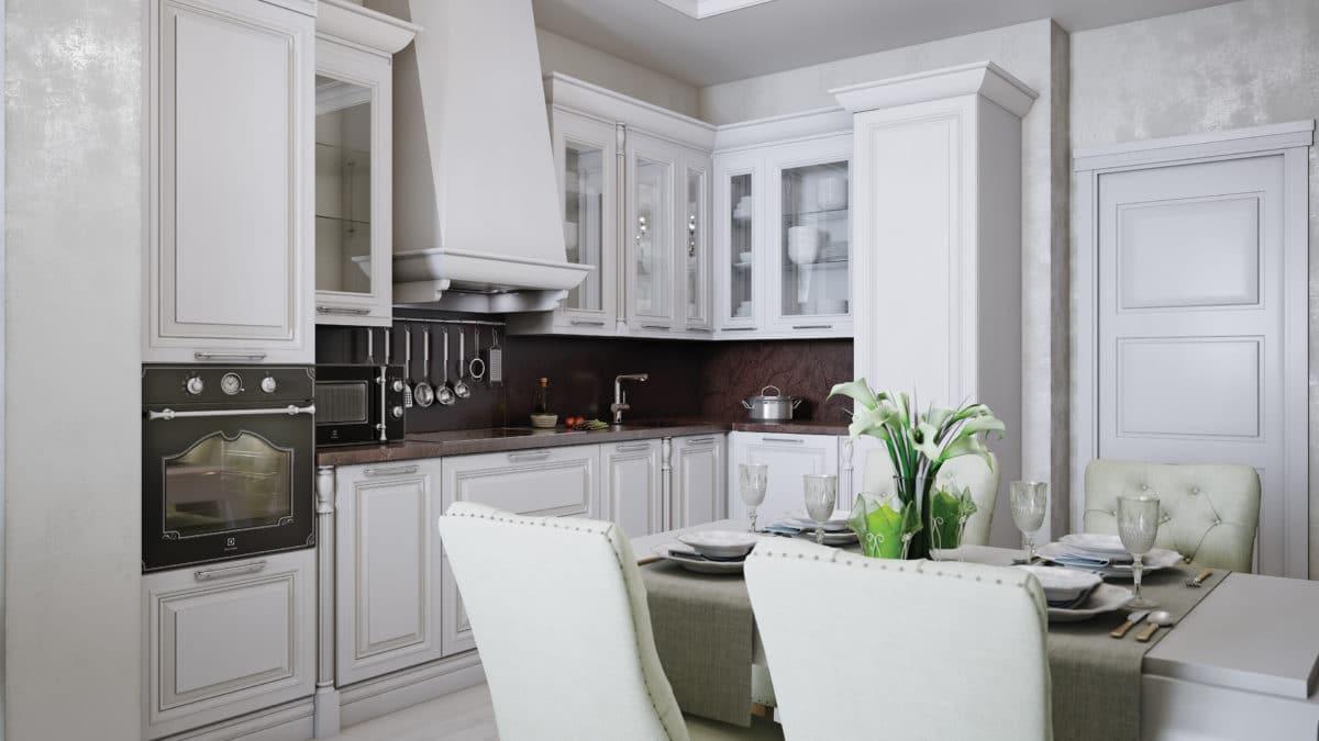 Кухня/столовая в  цветах:   Светло-серый, Серый, Черный.  Кухня/столовая в  стиле:   Неоклассика.
