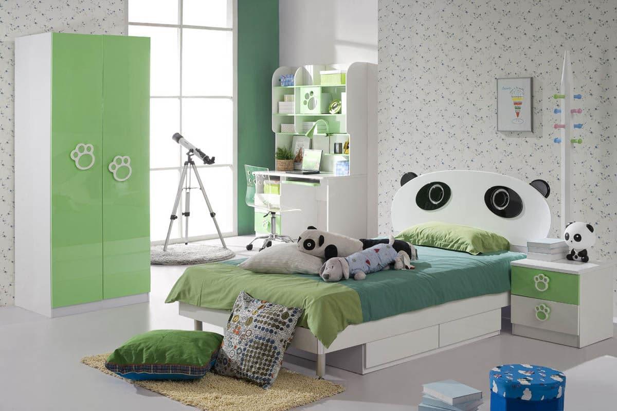 Детская в  цветах:   Бежевый, Белый, Зеленый, Светло-серый, Серый.  Детская в  стиле:   Минимализм.