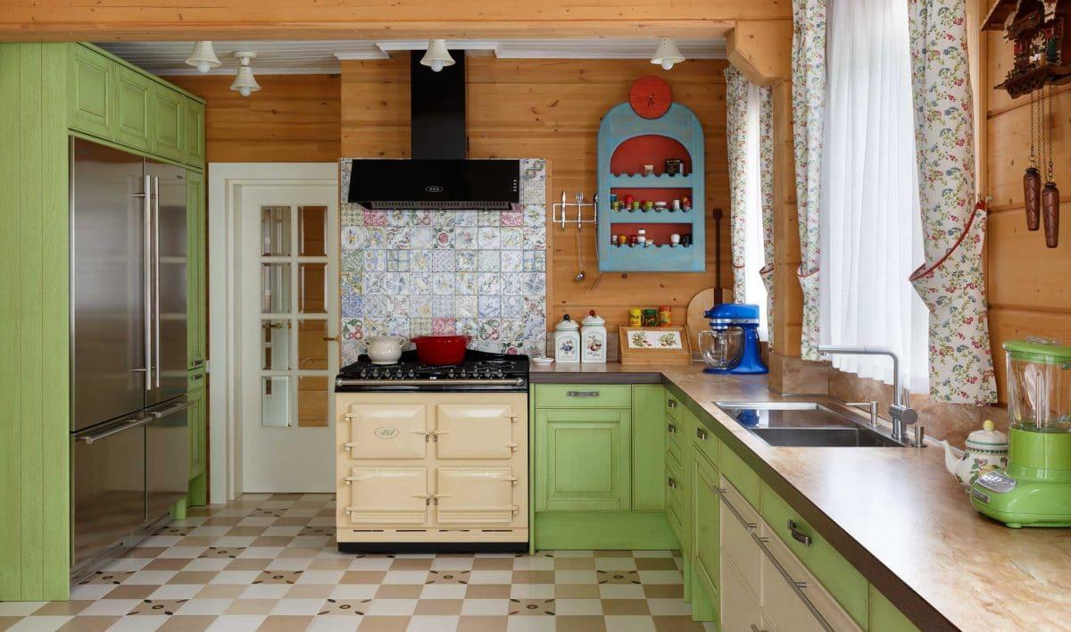 Кухня/столовая в  цветах:   Бежевый, Коричневый, Светло-серый, Серый, Темно-коричневый.  Кухня/столовая в  стиле:   Кантри.