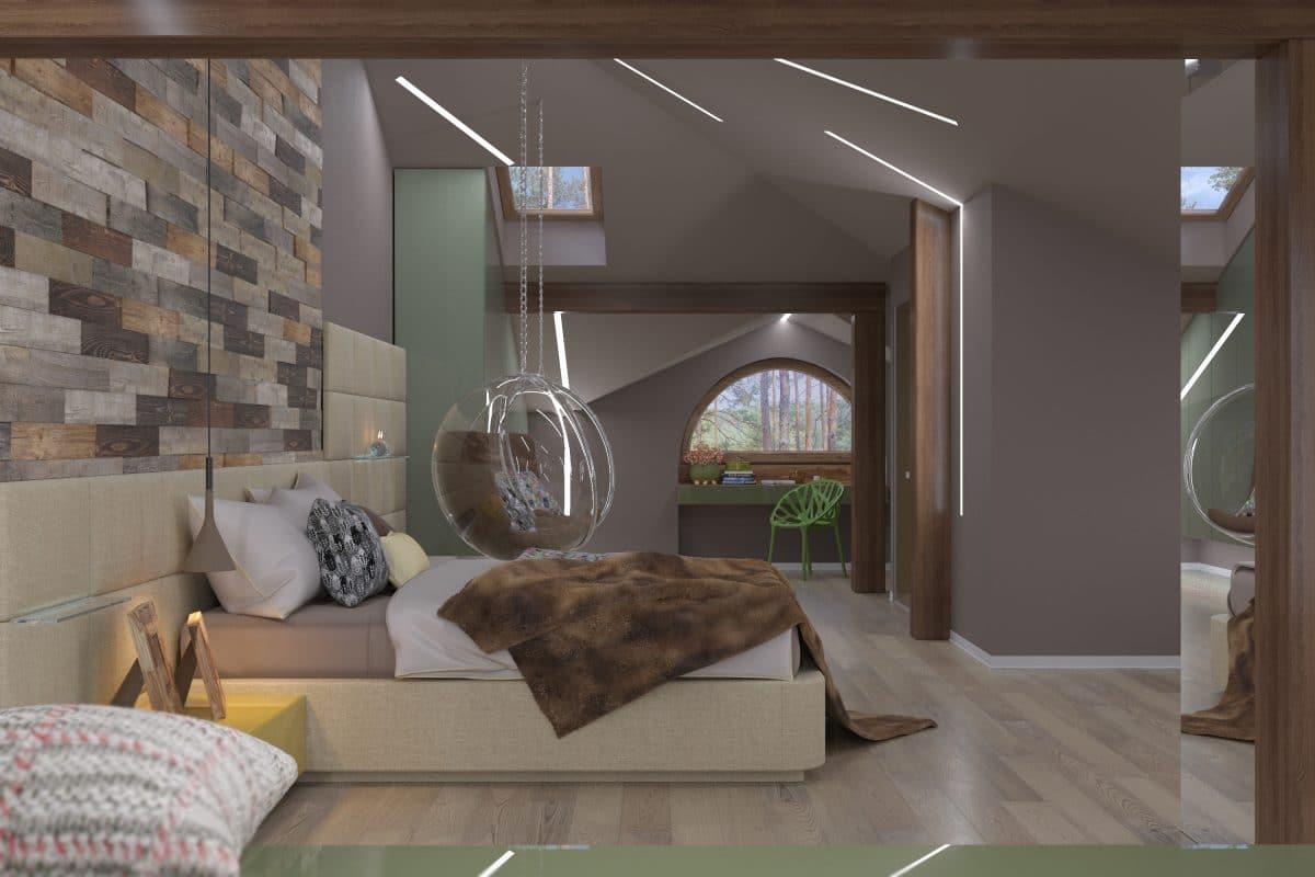 Спальня в  цветах:   Бежевый, Серый, Темно-коричневый.  Спальня в  стиле:   Минимализм.