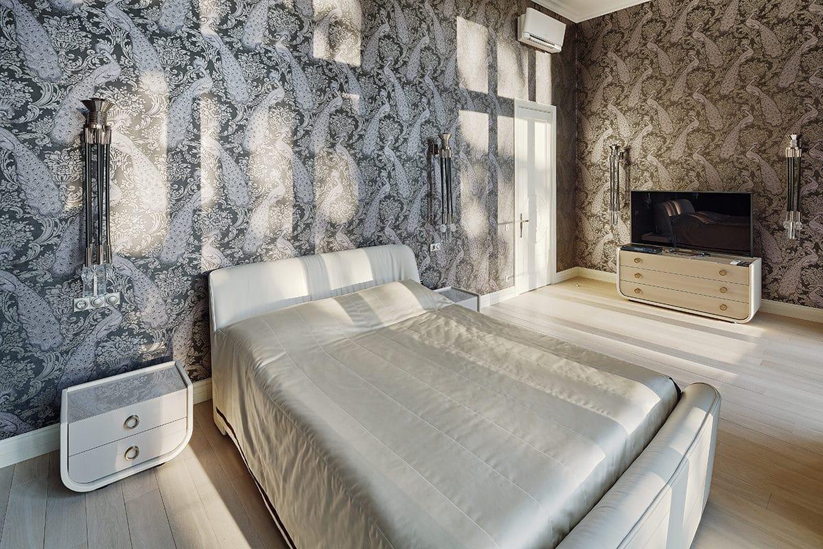 Спальня в  цветах:   Бежевый, Светло-серый, Серый, Темно-коричневый, Черный.  Спальня в  стиле:   Минимализм.