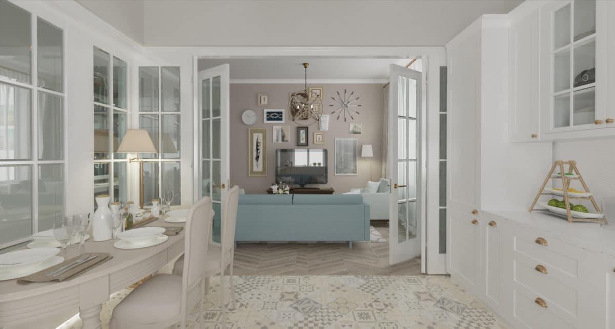 Гостиная в  цветах:   Бежевый, Светло-серый, Серый.  Гостиная в  стиле:   Неоклассика.