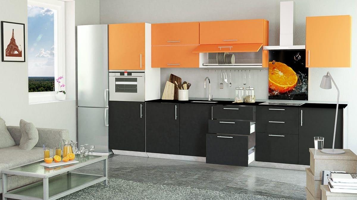 Кухня/столовая в  цветах:   Белый, Оранжевый, Светло-серый, Серый, Черный.  Кухня/столовая в  стиле:   Минимализм.