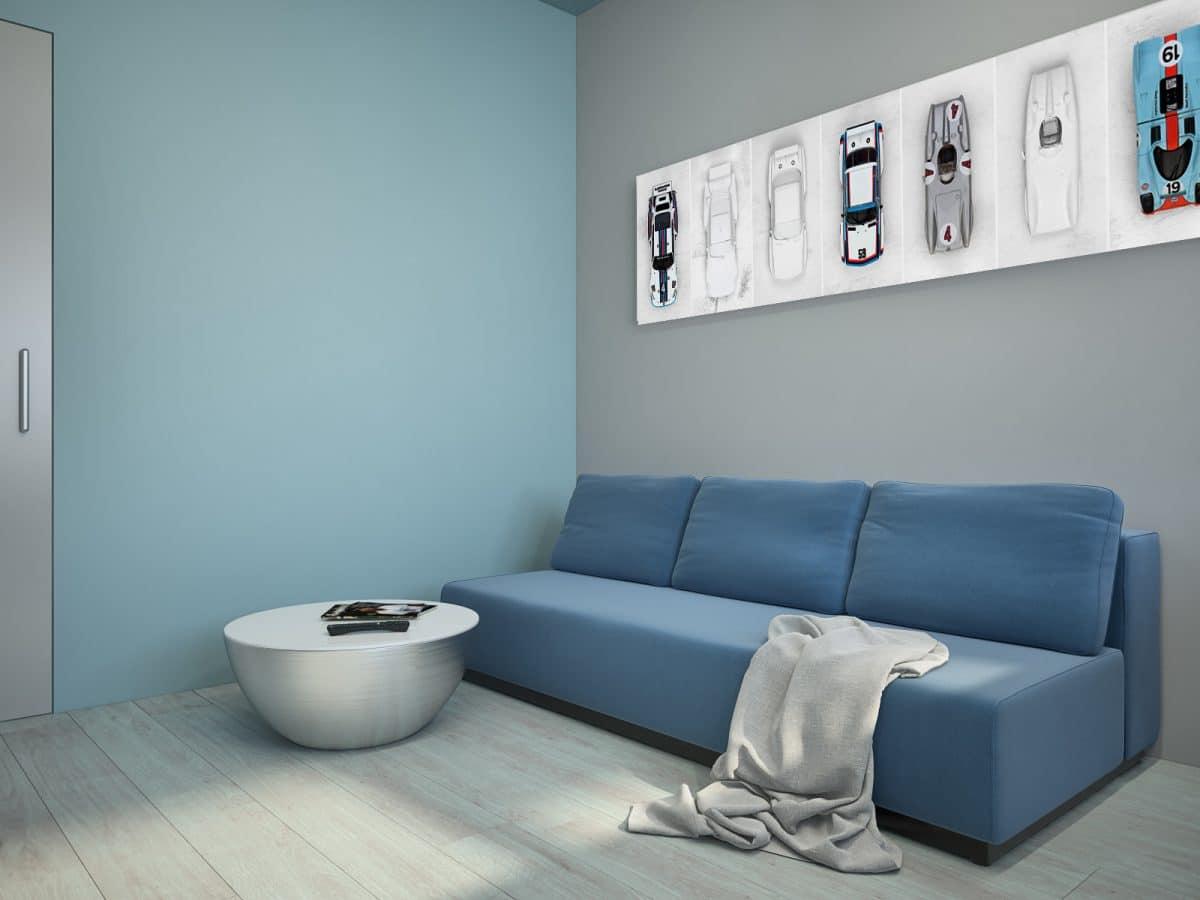 Гостиная в  цветах:   Бирюзовый, Светло-серый, Серый, Синий.  Гостиная в  стиле:   Минимализм.
