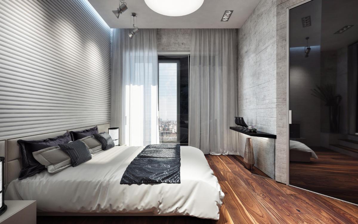 Спальня в  цветах:   Бежевый, Бордовый, Коричневый, Серый, Фиолетовый.  Спальня в  стиле:   Лофт.