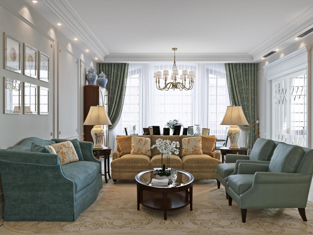 Гостиная в  цветах:   Бежевый, Коричневый, Темно-зеленый.  Гостиная в  стиле:   Неоклассика.