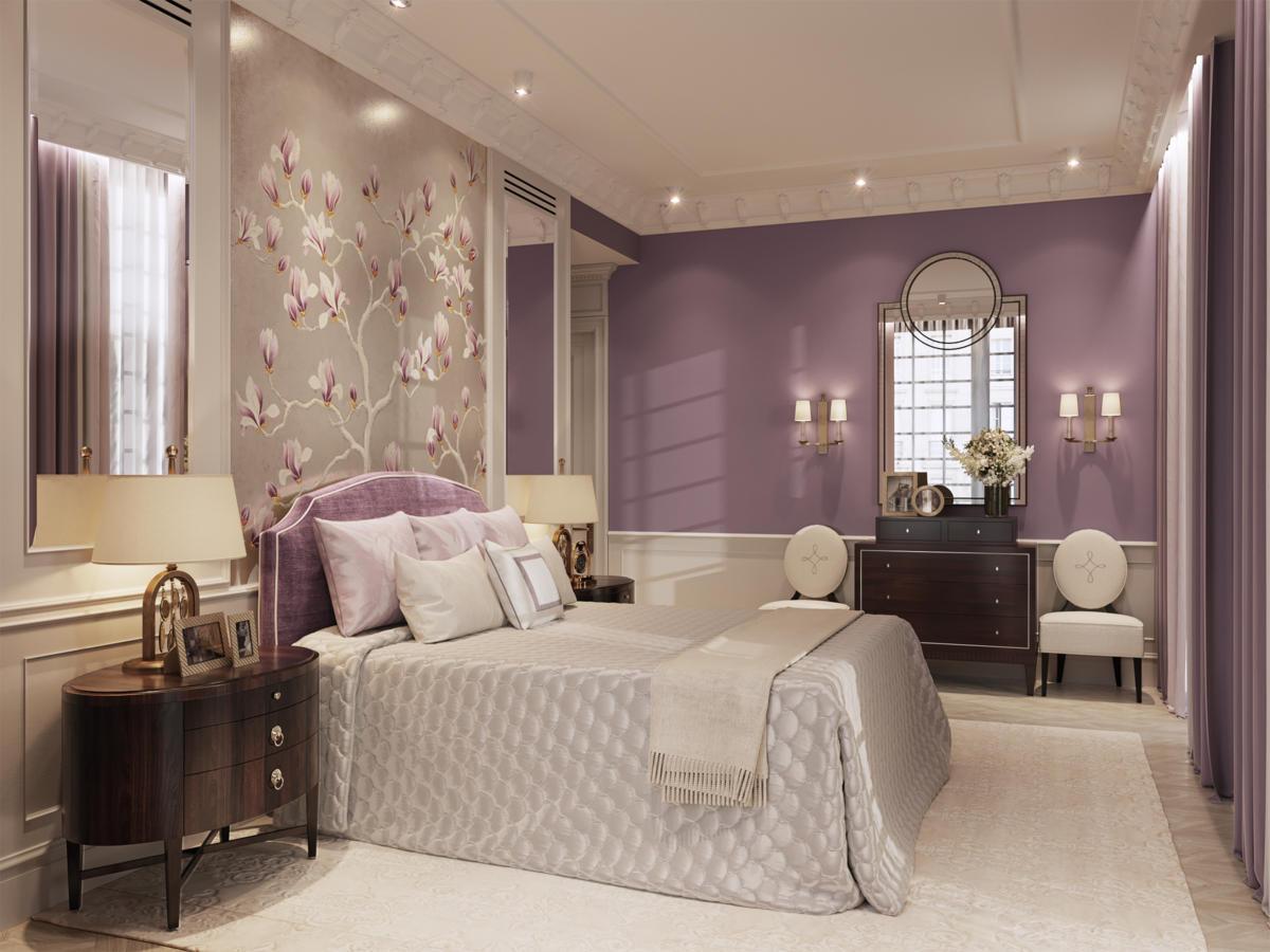 Спальня в  цветах:   Бордовый, Коричневый, Светло-серый, Темно-коричневый.  Спальня в  стиле:   Неоклассика.
