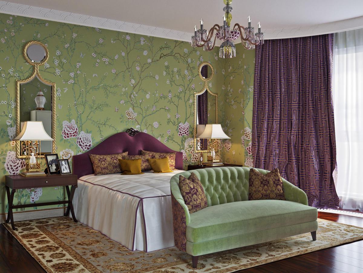 Спальня в  цветах:   Бежевый, Голубой, Светло-серый, Фиолетовый.  Спальня в  стиле:   Неоклассика.