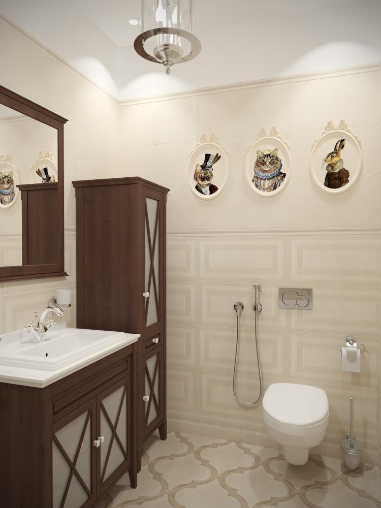 Ванная в  цветах:   Бежевый, Коричневый, Темно-коричневый.  Ванная в  стиле:   Неоклассика.