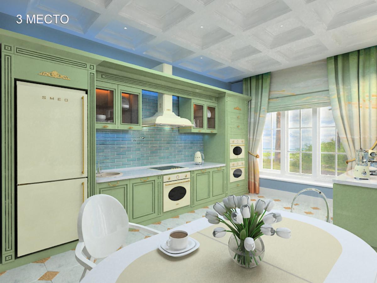 Кухня/столовая в  цветах:   Голубой, Зеленый, Коричневый, Темно-зеленый.  Кухня/столовая в  стиле:   Кантри.