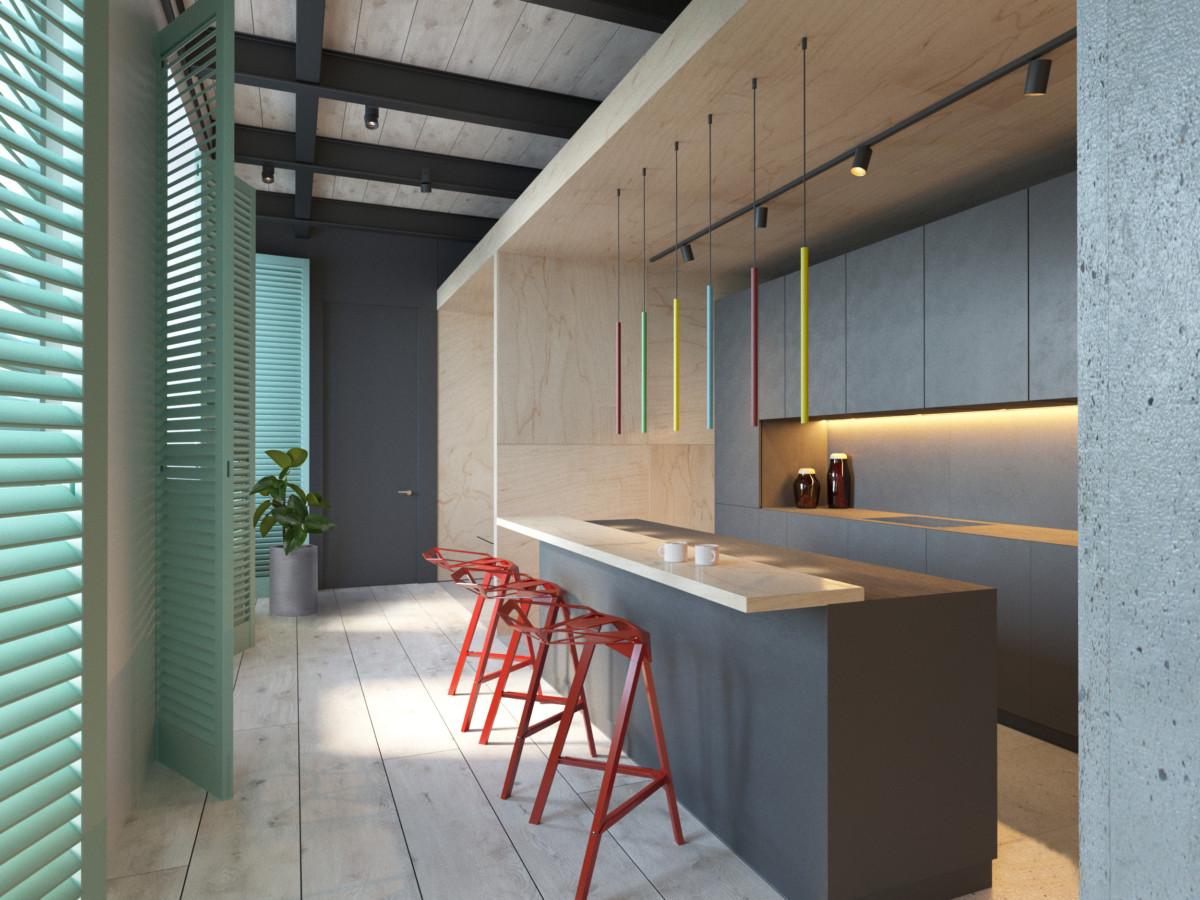 Кухня/столовая в  цветах:   Бежевый, Бирюзовый, Голубой, Серый, Фиолетовый.  Кухня/столовая в  стиле:   Лофт.