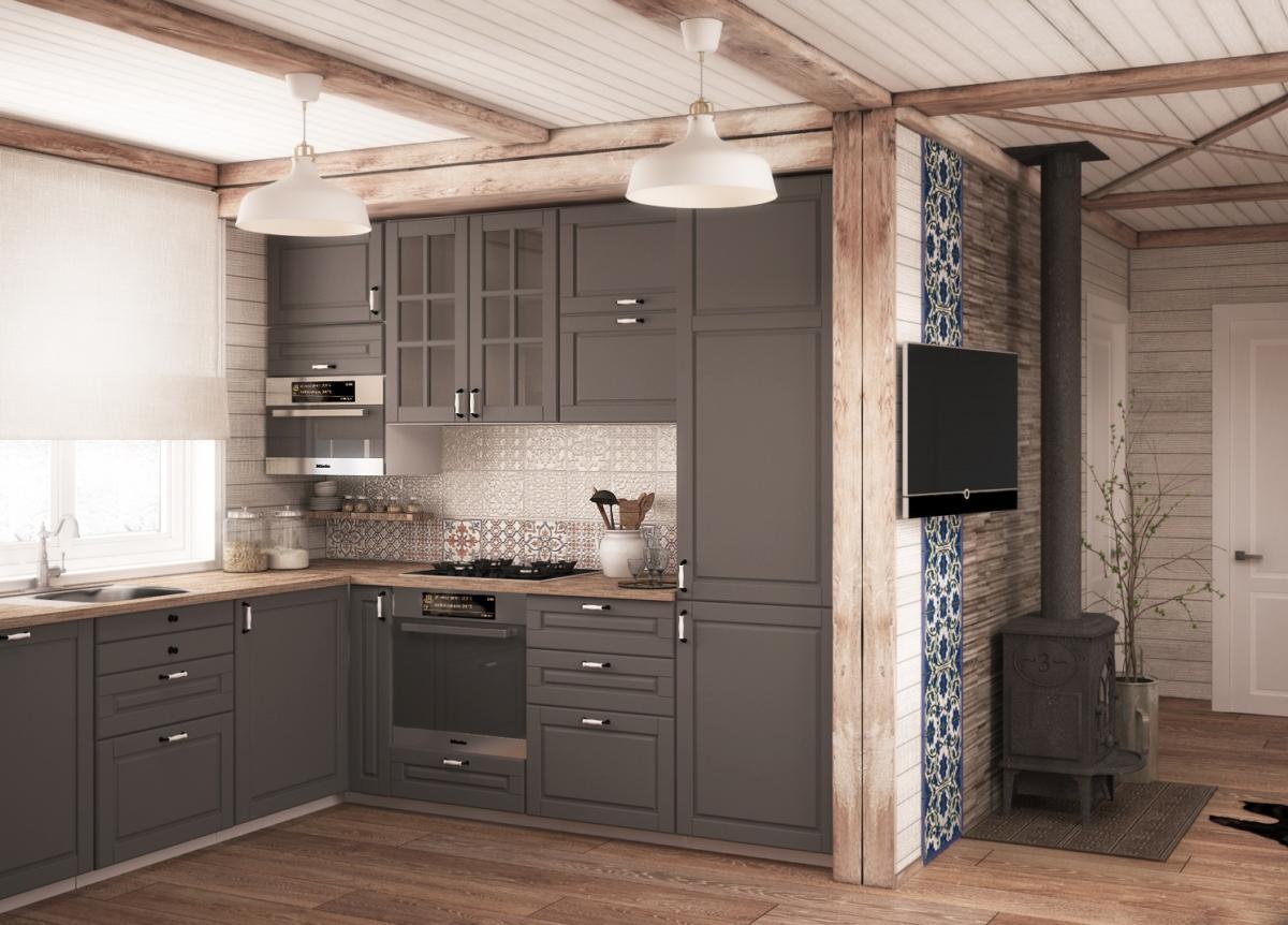 Кухня/столовая в  цветах:   Коричневый, Оранжевый, Светло-серый, Темно-коричневый.  Кухня/столовая в  стиле:   Кантри.