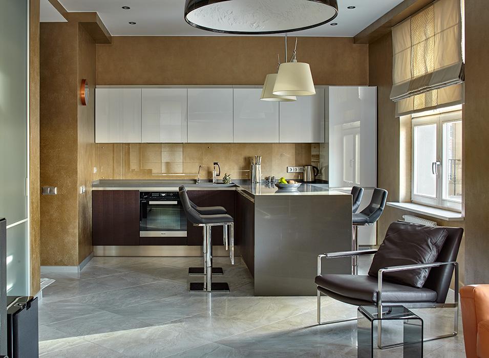 Кухня/столовая в  цветах:   Бежевый, Зеленый, Лимонный, Светло-серый, Темно-коричневый.  Кухня/столовая в  стиле:   Минимализм.