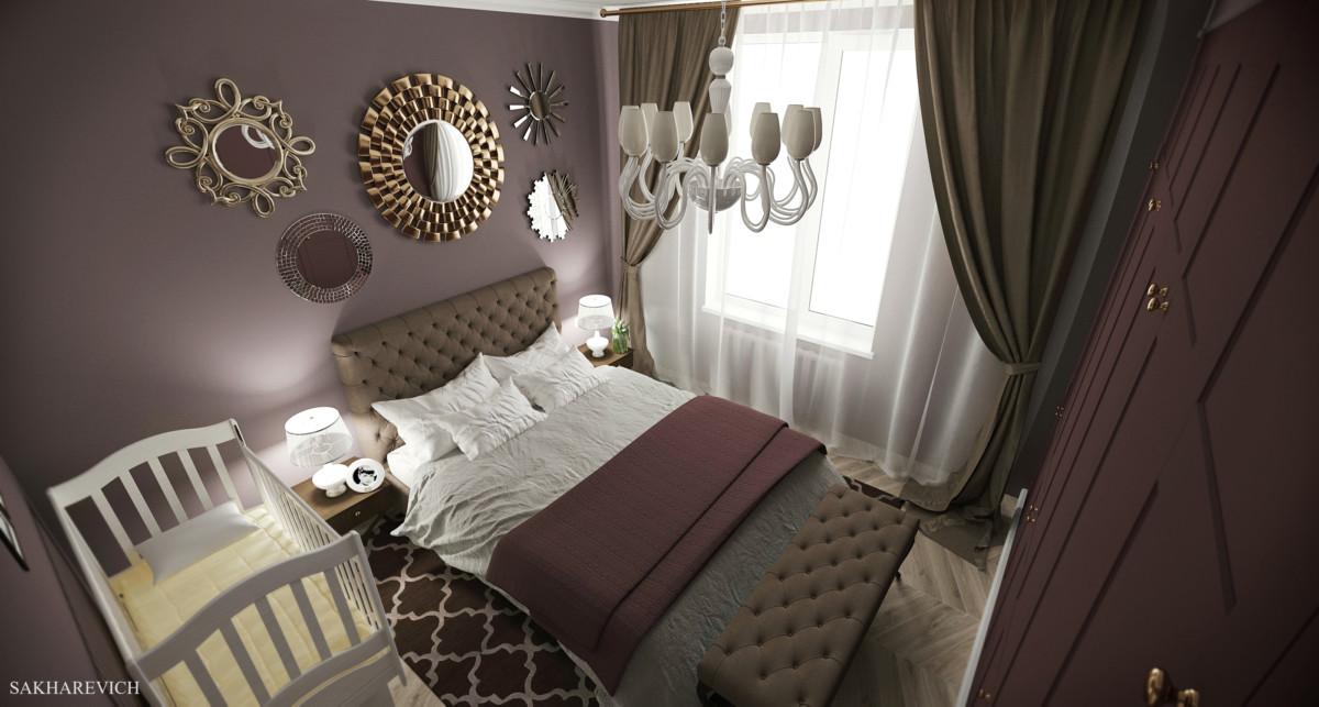 В спальне цвет стен глубокий насыщенный сливовый, располагает к приятному отдыху и расслаблению.  Также предусмотрено место для детской кроватки.