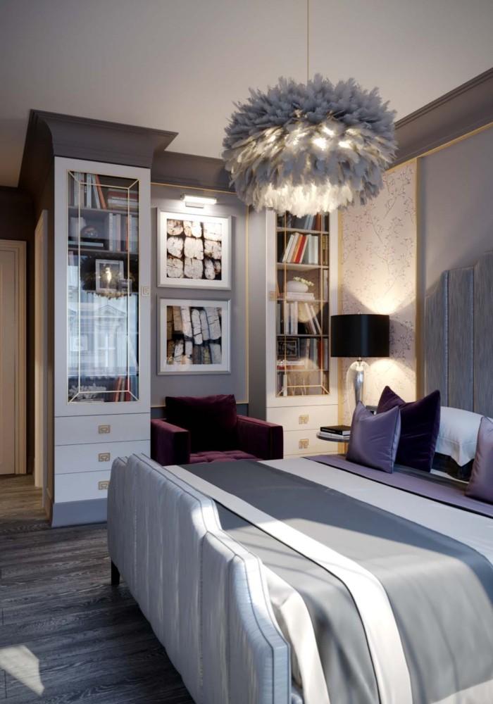 Спальня в  цветах:   Бежевый, Светло-серый, Серый, Фиолетовый.  Спальня в  стиле:   Арт-деко.