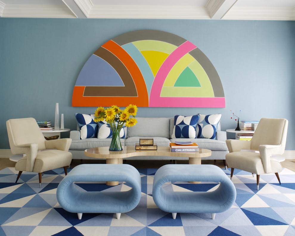 Гостиная в  цветах:   Бежевый, Бирюзовый, Коричневый, Светло-серый, Синий.  Гостиная в  стиле:   Эклектика.