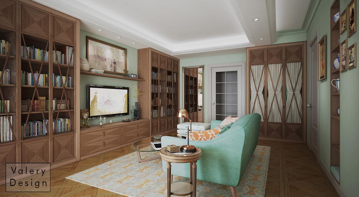 В зале предусмотрены различные места хранения: гардеробная, библиотека, встроенный стеллаж. Центральная часть — мягкая зона.