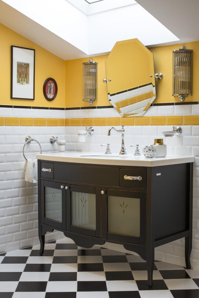 Гостевая ванная. Жизнерадостный жёлтый цвет в интерьере ванной создаёт ощущение солнечного дня в любую погоду.