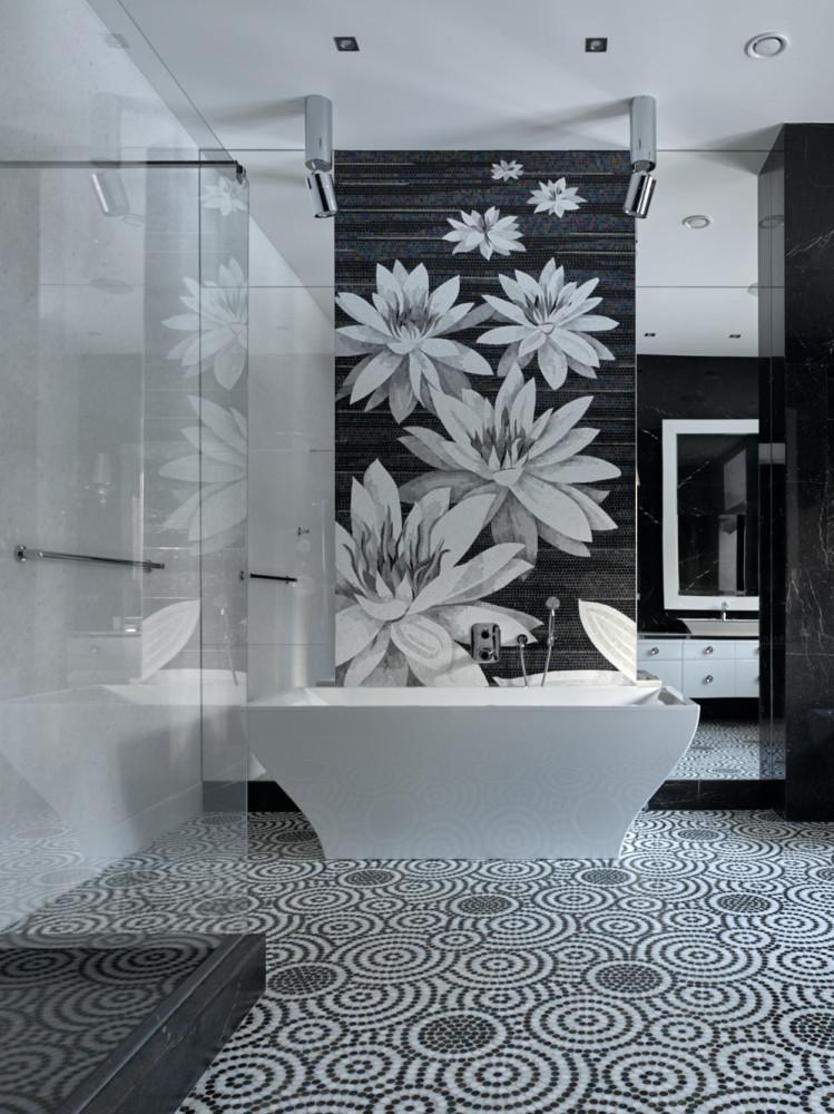 Ванная в  цветах:   Бирюзовый, Светло-серый, Сиреневый, Фиолетовый.  Ванная в  стиле:   Минимализм.