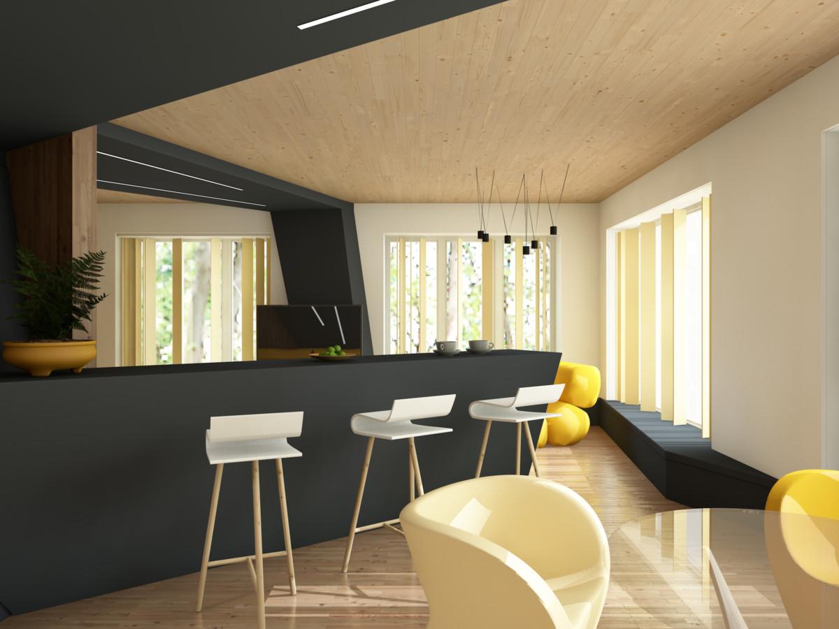 Кухня/столовая в  цветах:   Бежевый, Коричневый, Лимонный, Темно-зеленый.  Кухня/столовая в  стиле:   Минимализм.