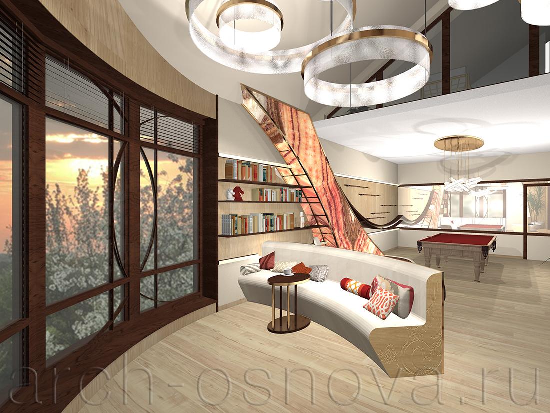 Комната отдыха с бильярдом расположена на 2-м этаже дома. Ярким цветовым акцентом в интерьере стала декоративная изогнутая конструкция из натурального оникса с подсветкой.
