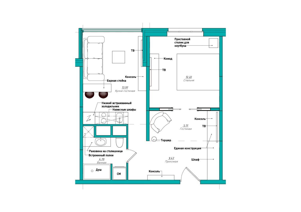 план зонирования и расстановки мебели