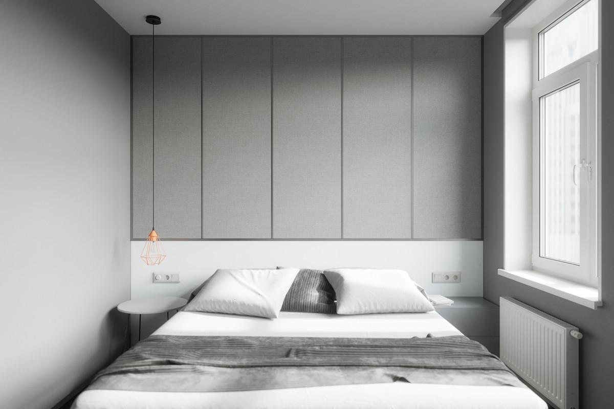 Спальня в  цветах:   Светло-серый, Серый, Темно-зеленый.  Спальня в  стиле:   Минимализм.