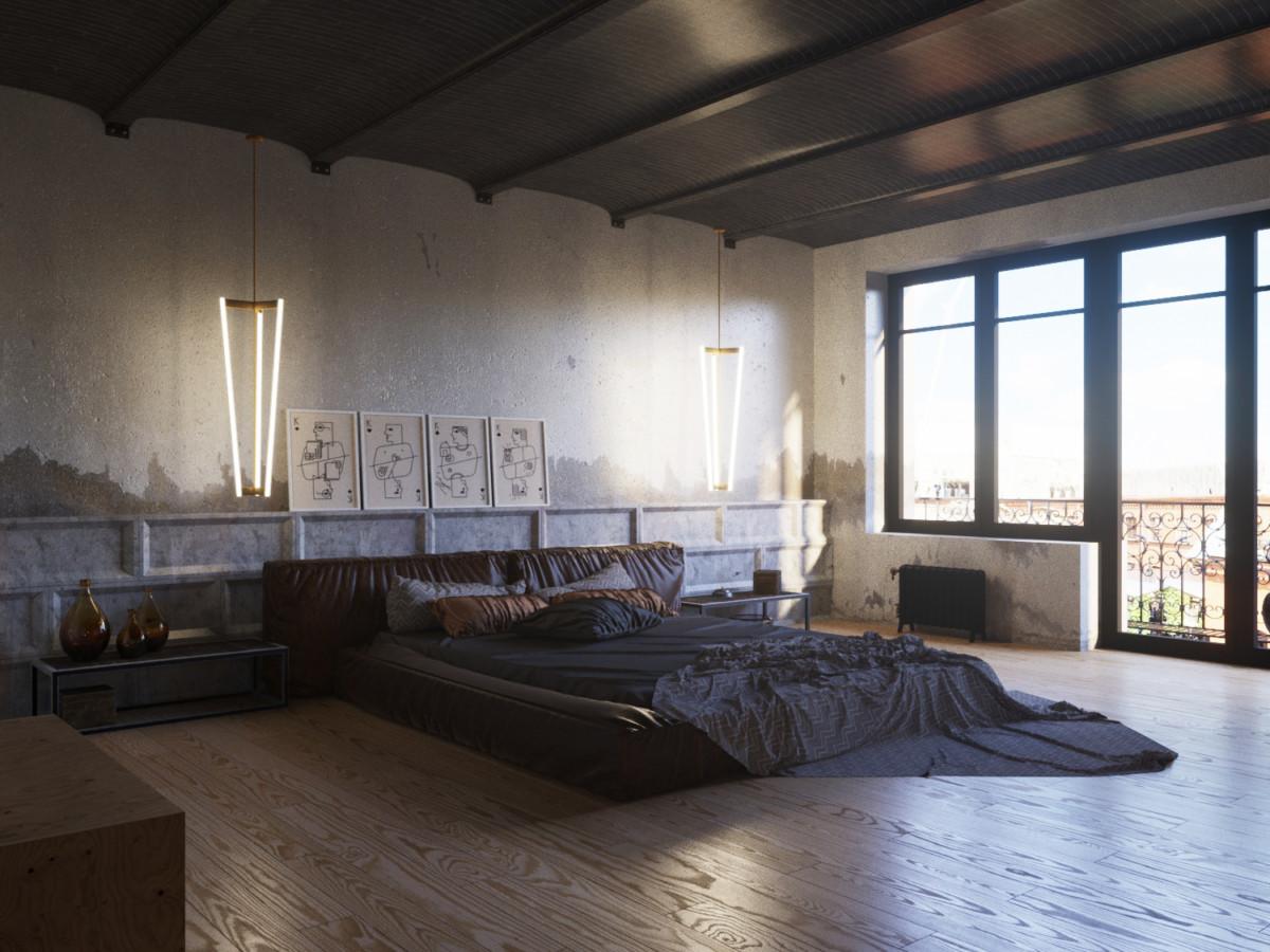 Спальня в  цветах:   Бирюзовый, Коричневый, Светло-серый, Серый, Темно-коричневый.  Спальня в  стиле:   Лофт.