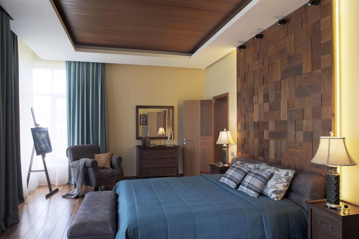 Спальня в  цветах:   Бежевый, Бирюзовый, Коричневый, Фиолетовый.  Спальня в  стиле:   Минимализм.