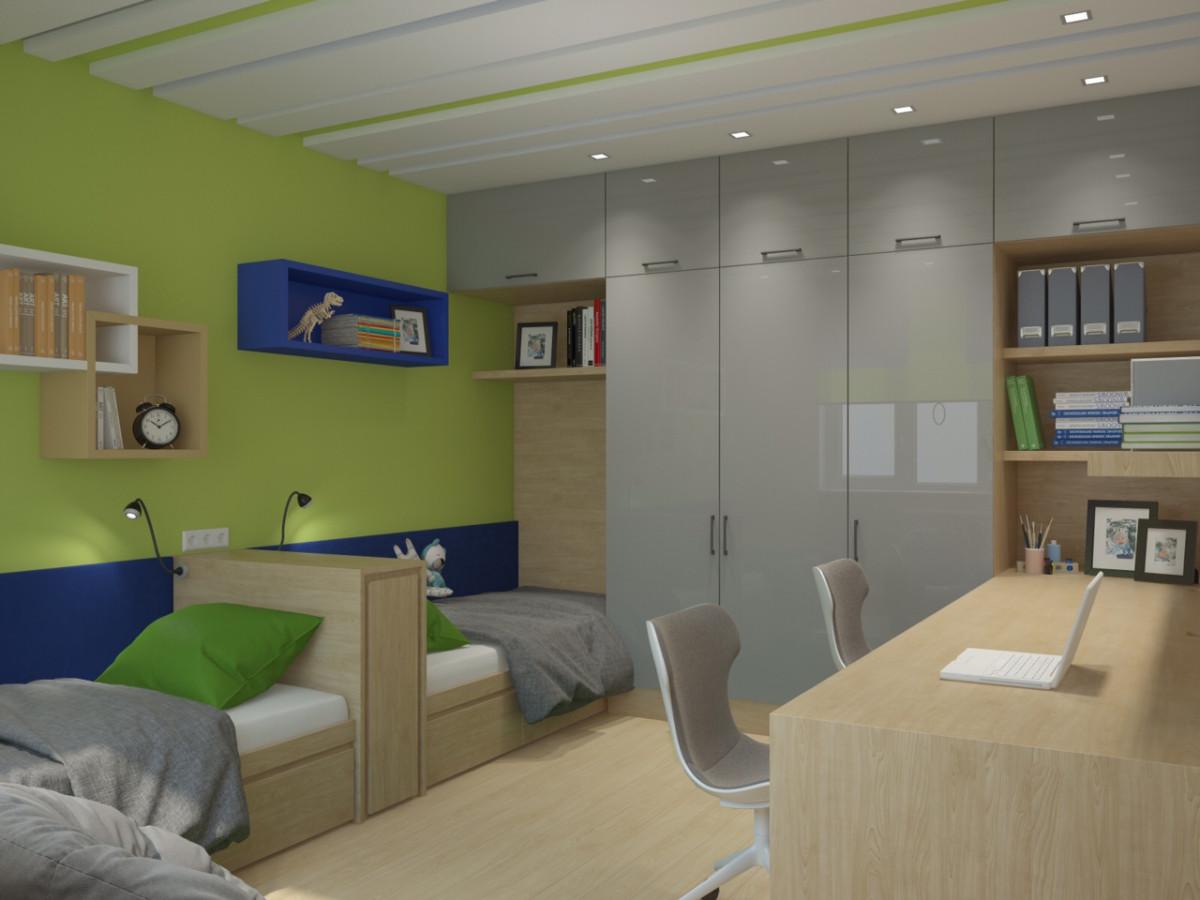 Мебель — столы, кровати, шкаф, полки на заказ по индивидуальному проекту. Освещение:  встроенные светильники фабрики Favourite.