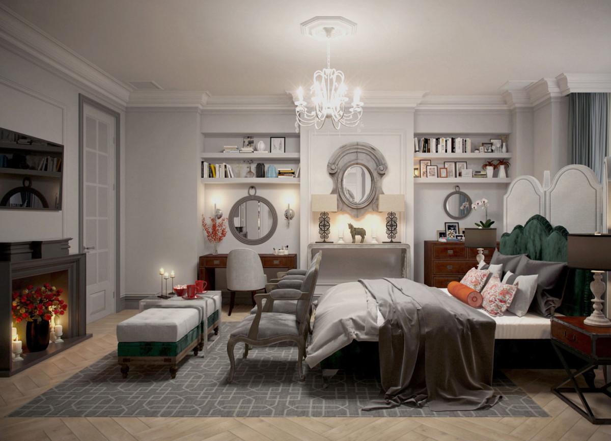 """Весь второй этаж """"отдан"""" родителям. На этом этаже также нашёл свое укромное местечко кабинет главы семьи, выполненный в английском стиле."""