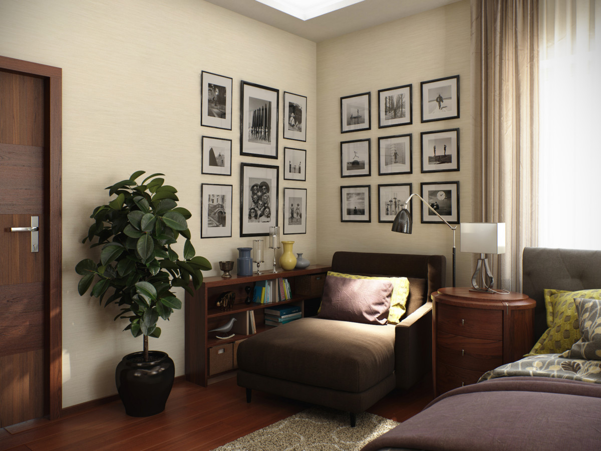 Уютное место для чтения за чашечкой какао или бокалом красного вина. Стены оформлены чёрно-белыми фотографиями с изображением весёлых или значимых семейных моментов.